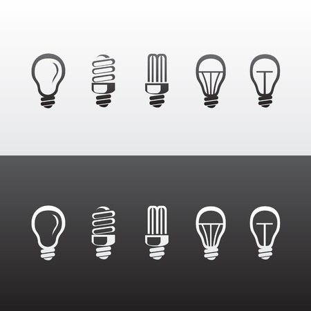 led light bulb: Set of Light Bulbs Icons