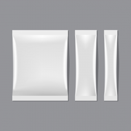 sugar: Set of White Blank Sachet Packaging