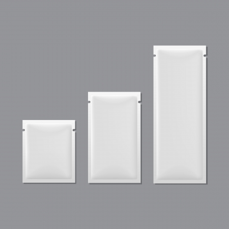 antibacterial: Set of White Blank Sachet Packaging
