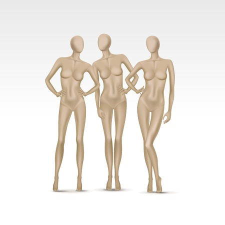 boobs: Vector Set of Isolated Female Mannequins