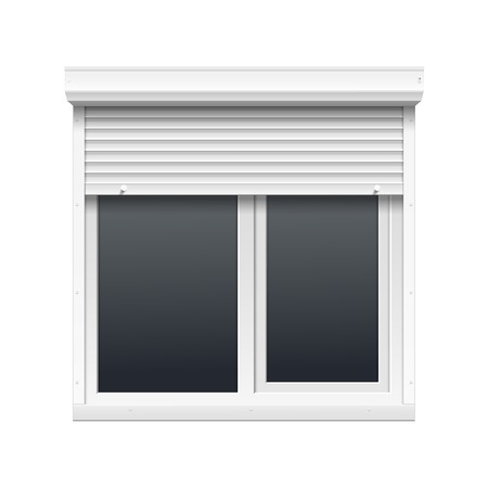 security shutters: Vector Window with Rolling Shutters