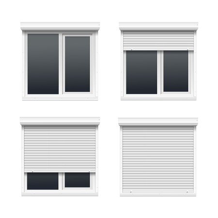 office windows: Vector conjunto de ventanas con persianas enrollables