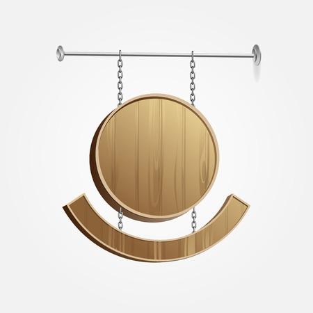 Vector Wooden Blank Signboard