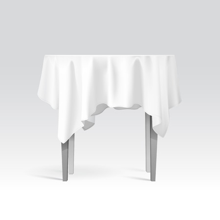 Vector Empty Round Table with Tablecloth Isolated on White Background Vector