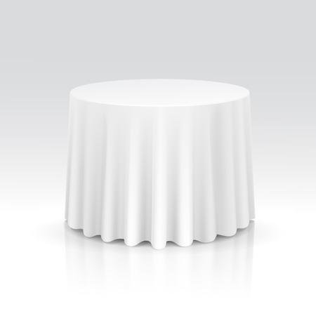 tela blanca: Vector Vac�o Mesa redonda con mantel aislado sobre fondo blanco