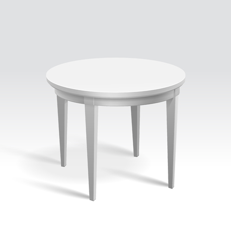 Vector Empty Round Table Isolated on White Background Vector