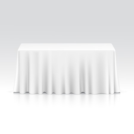 tabletop: Vector Empty Rectangular Table with Tablecloth Isolated on White Background