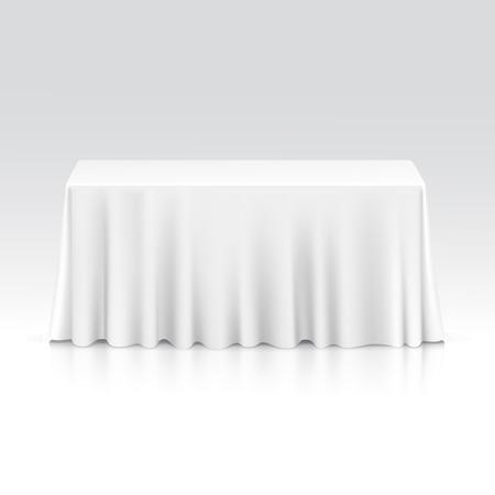 Vector Vacío Mesa rectangular con mantel aislado sobre fondo blanco
