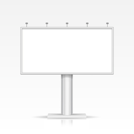 outdoor lighting: Vector Blank Outdoor Billboard with Place for Message and with Lighting Isolated on Background Illustration