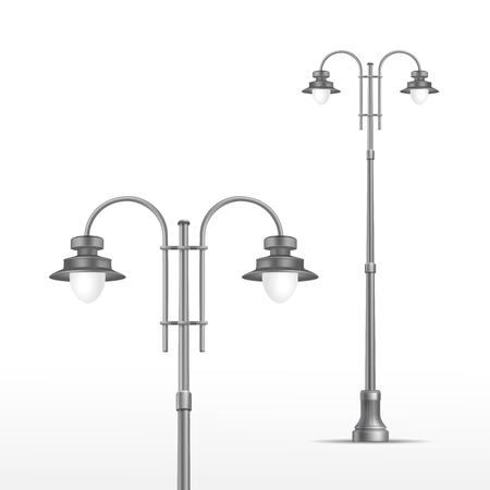 lamp on the pole: Vector Street Lamp Isolated on White Background