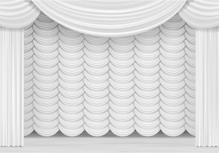 telon escena del vector con cortinas blancas