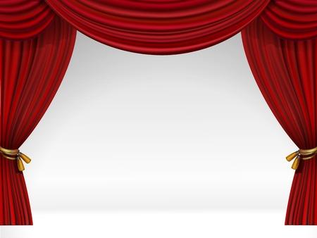 ventana abierta: Vector Escena blanco con aislados Cortinas rojas Vectores