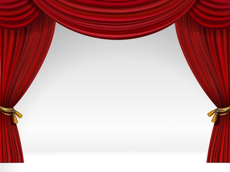 Vector White Scene with Isolated Red Curtains
