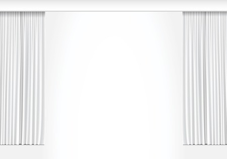 Vector cortinas blancas aisladas sobre fondo blanco