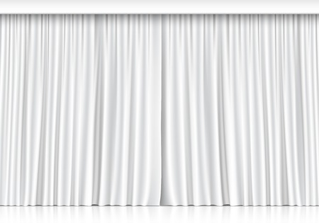 Vector White Curtains Isolated on White Background