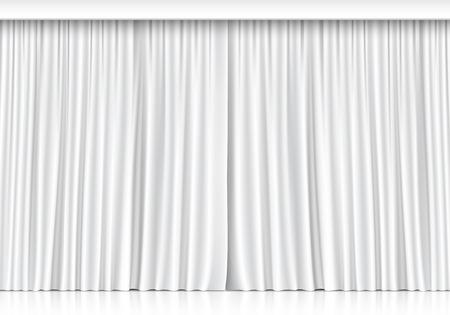 curtain theater: Vector cortinas blancas aisladas sobre fondo blanco