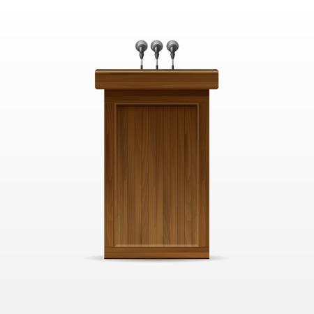 rostrum: Wood Podium Tribune Rostrum Stand with Microphone