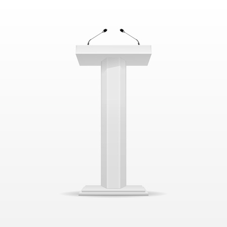 tribune: White Podium Tribune Rostrum Stand with Microphone