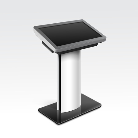 Information Display Monitor Terminal Stand Çizim