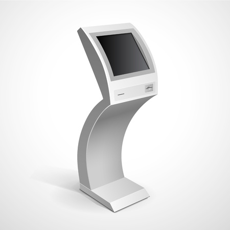 security monitor: Information Display Monitor Terminal Stand Illustration