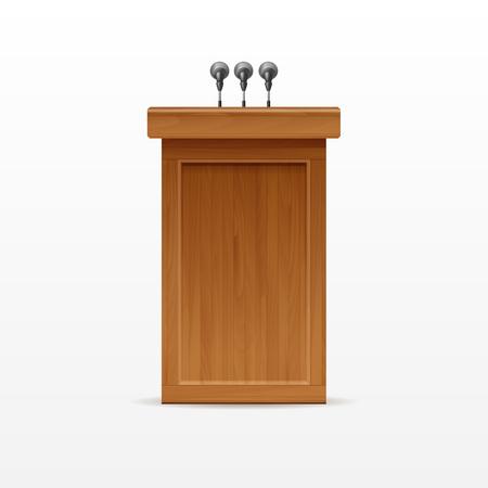 rostrum: Wood Podium Tribune Rostrum Stand with Microphones