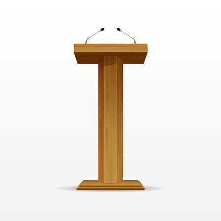 tribune: Wood Podium Tribune Rostrum Stand with Microphones