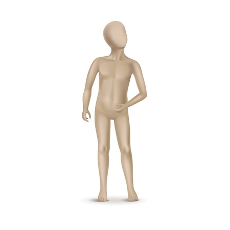 naked silhouette: Vector Child Mannequin Isolated on White Illustration