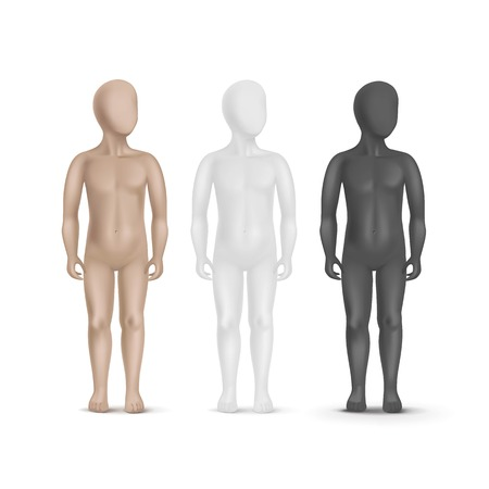 naked male body: Set of Three Child Mannequins Isolated on White