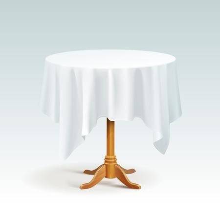 Leere Holz Runder Tisch mit Tischdecke