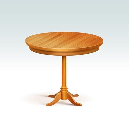 空の丸い木のテーブル 写真素材 - 31819621