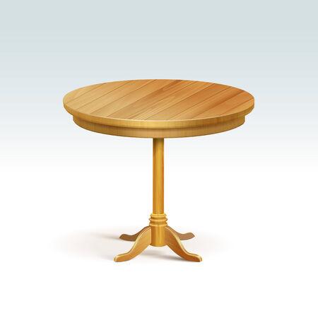 Lege ronde houten tafel