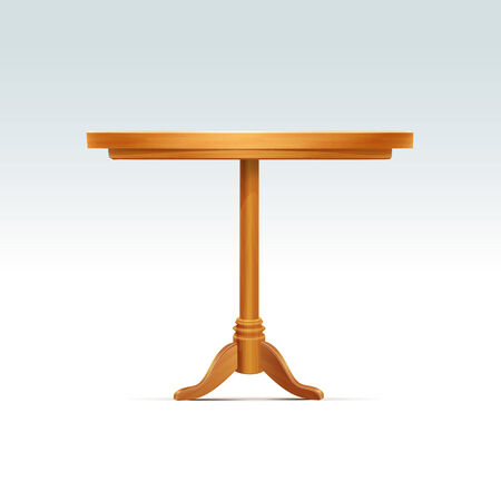 Empty Round Wood Table Vector