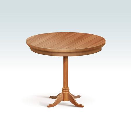 空の丸い木のテーブル
