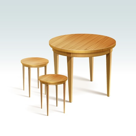 Empty Round Wood Table with Two Chairs Vector