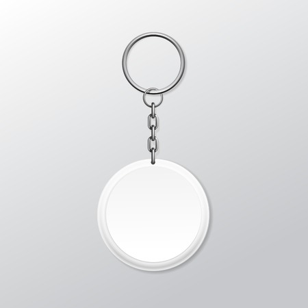 silver ring: Blank Round Keychain with Ring and Chain for Key