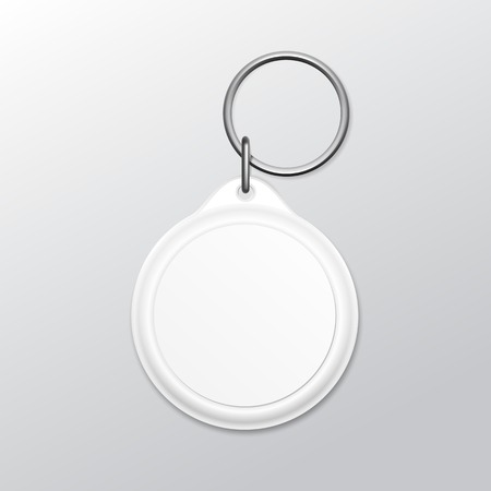 holder: Blank Round Keychain with Ring and Chain for Key