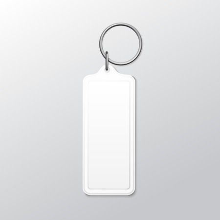 Blank Square Keychain with Ring and Chain for Key