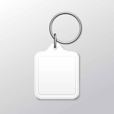 silver ring: Blank Square Keychain with Ring and Chain for Key