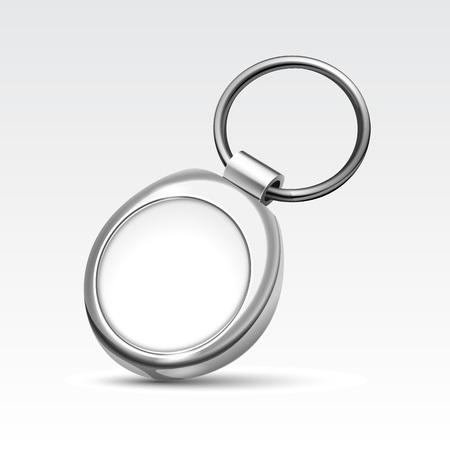 キーのリングを持つ空白の金属ラウンド キーチェーン