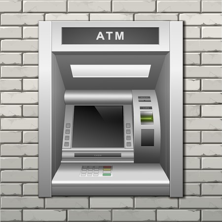 ATM Bank Cash Machine on a Brick Wall Background Vettoriali