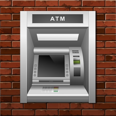 ATM Bank Cash Machine on a Brick Wall Background Stock Illustratie