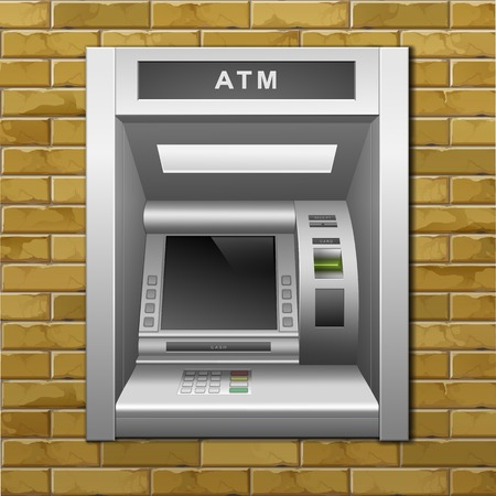 automatic teller machine bank: ATM Bank Cash Machine on a Brick Wall Background Illustration