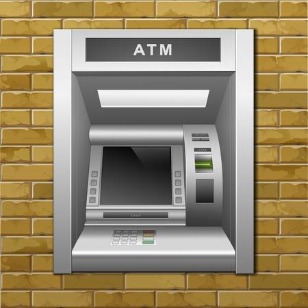 automatic transaction machine: Cajero automático en el Banco un fondo pared de ladrillo Vectores