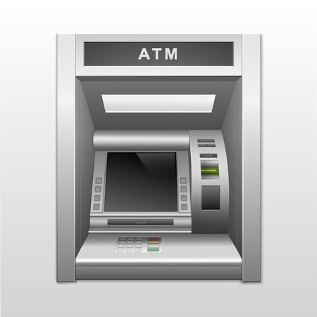 Isolated ATM Bank Cash Machine Vector