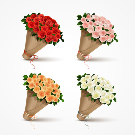Set Bouquets of Roses Isolated