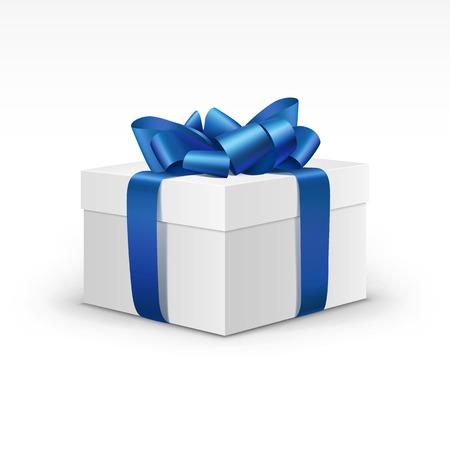 azul: Rectángulo de regalo blanco con la cinta azul aislado