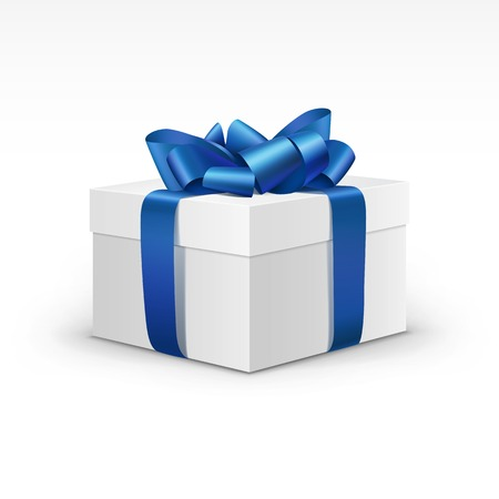 gift: White Gift Box with Blue Ribbon Isolated Illustration