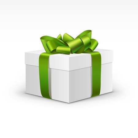 verde: Rectángulo de regalo blanco con luz de la cinta verde aislada Vectores
