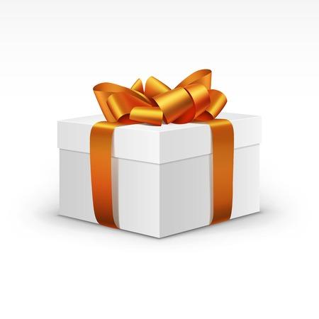 Blanco caja de regalo con la cinta anaranjada aislada Foto de archivo - 31816449