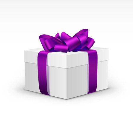 Contenitore di regalo bianco con nastro viola viola isolato Archivio Fotografico - 31816450